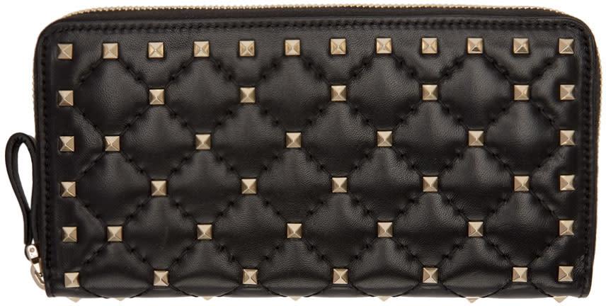 Valentino Black Rockstud Spike Continental Zip Wallet
