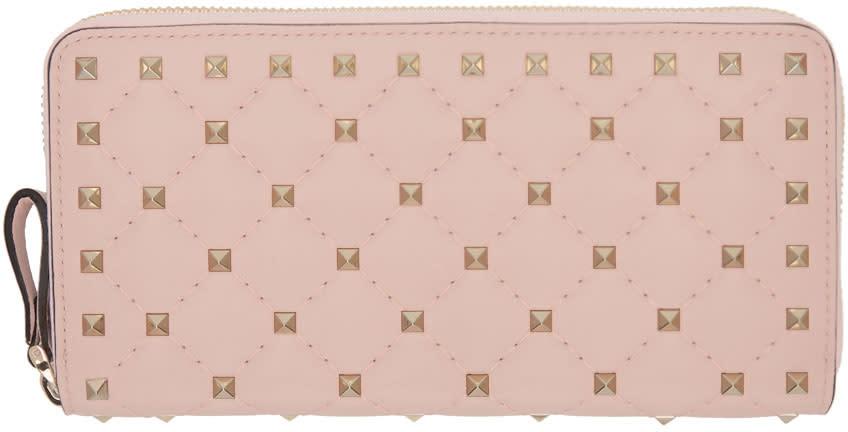 Valentino Pink Rockstud Spike Continental Zip Wallet