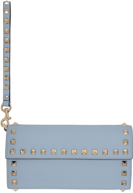 Valentino Blue Rockstud Flap Wallet