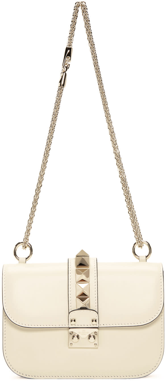 Valentino Ivory Small Rockstud Lock Bag