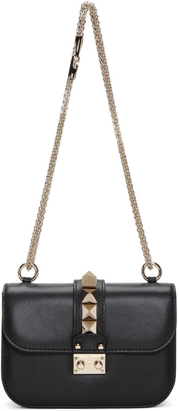 Valentino Black Small Rockstud Lock Bag