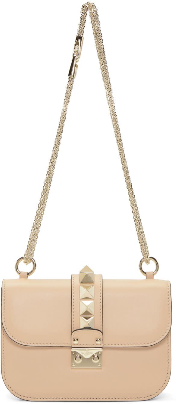 Valentino Beige Small Rockstud Lock Bag