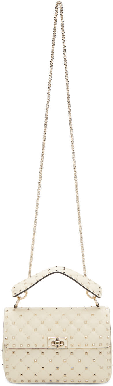 Valentino Ivory Medium Rockstud Spike Chain Bag