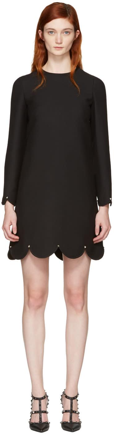 Valentino Black Scallop Rockstud Dress