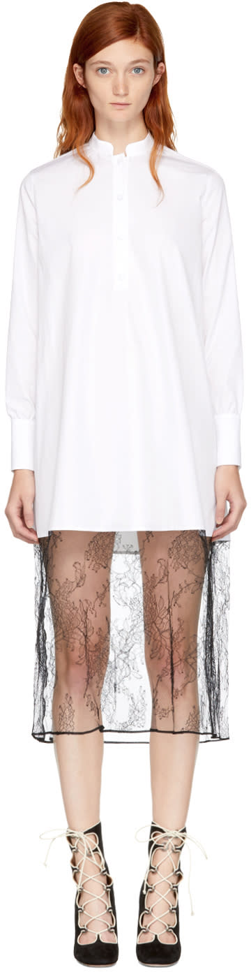Valentino White Poplin and Lace Shirt Dress