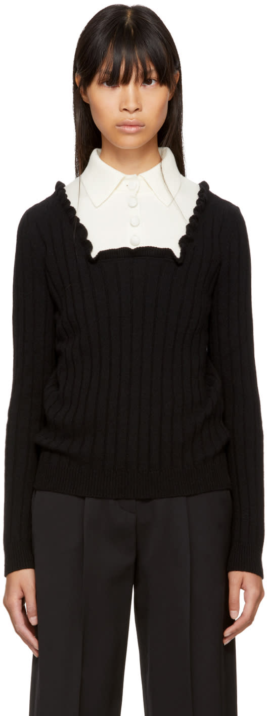 Image of Valentino Black and Ecru Ribbed Polo Sweater