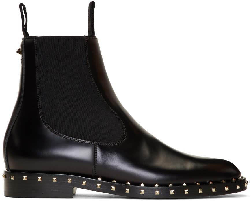 ValentinoBlack Valentino Garavani Rockstud Chelsea Boots