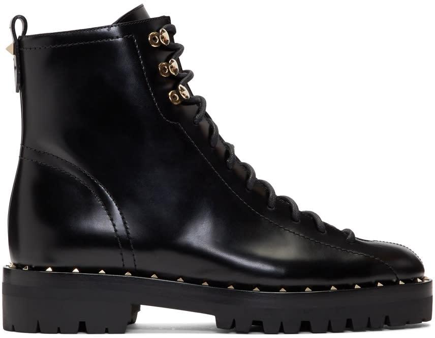 ValentinoBlack Valentino Garavani Soul Rockstud Combat Boots