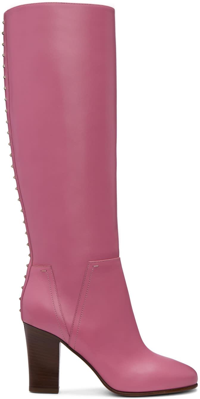 Valentino Pink Valentino Garavani Lovestud Knee-high Boots