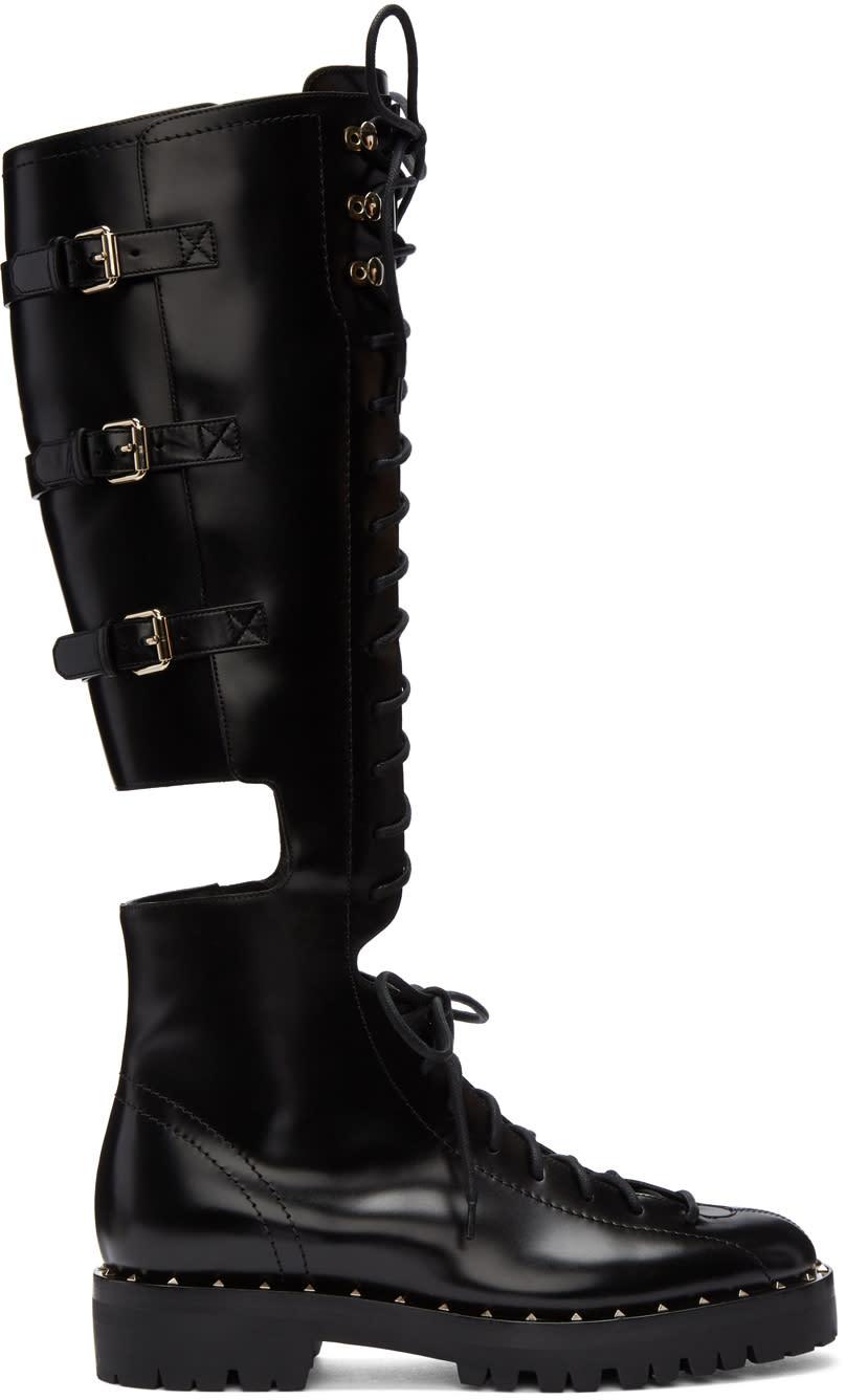 ValentinoBlack Valentino Garavani Soul Rockstud Knee-high Military Boots