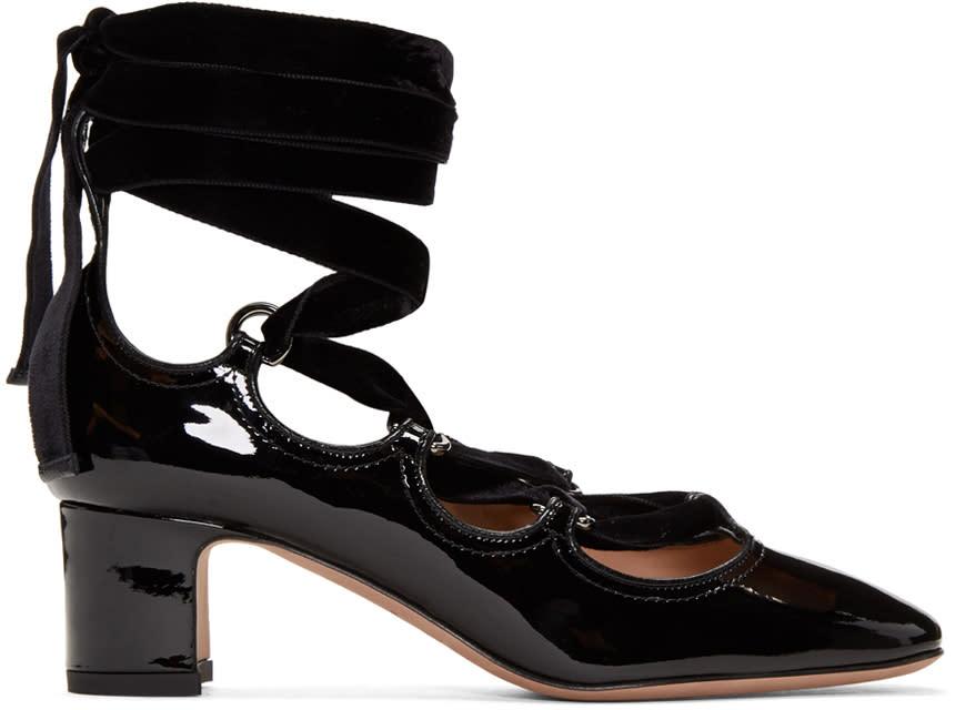 ValentinoBlack Valentino Garavani Patent and Velvet Ghillie Heels