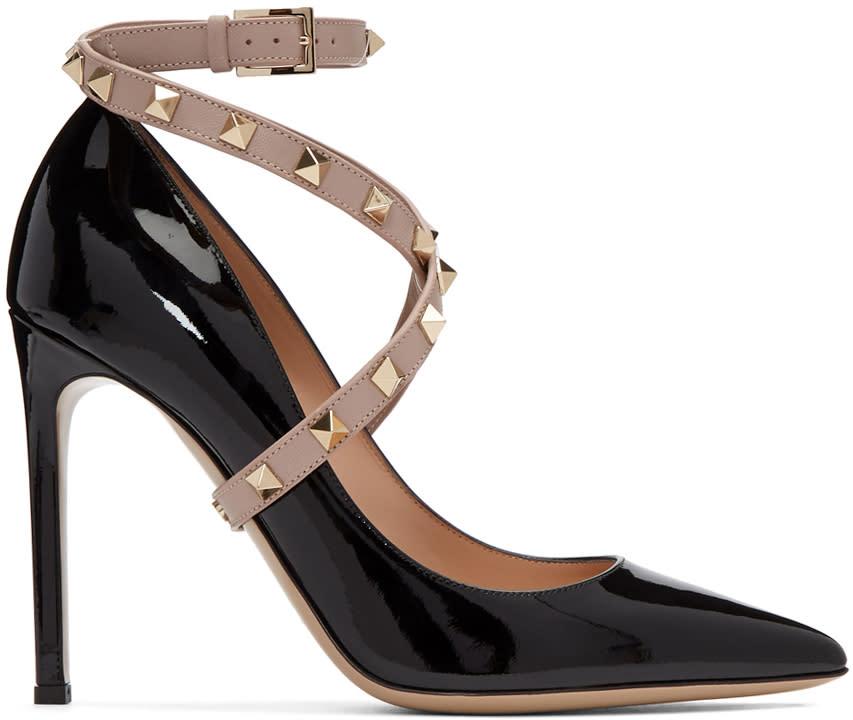 ValentinoBlack Valentino Garavani Patent Studwrap Heels