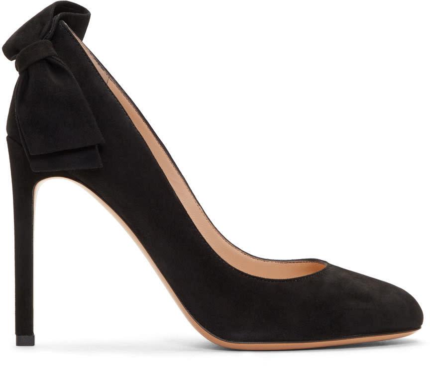 Valentino-Black Valentino Garavani Suede Pretty Bow Heels