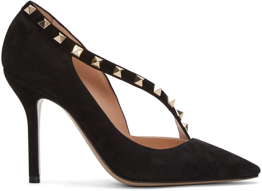 ValentinoBlack Valentino Garavani Suede Rockstud Dorsay Heels