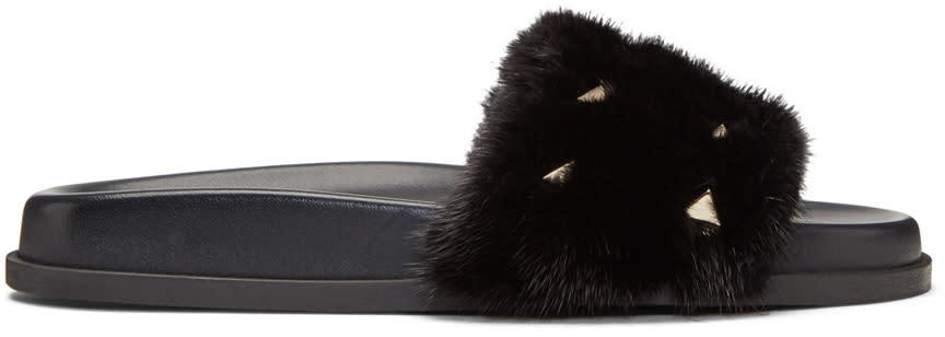Valentino Black Fur Rockstud Slides