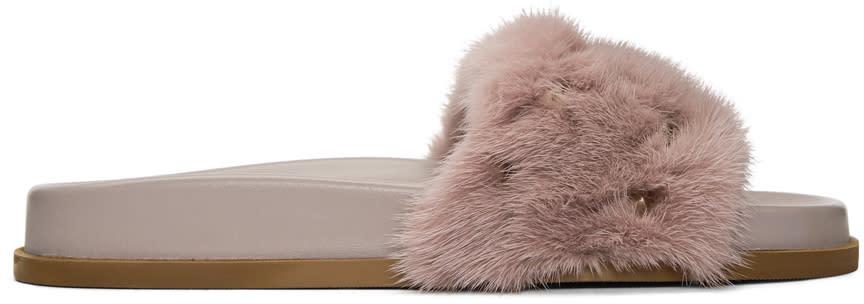 6916bf4b5f84 Valentino Pink Valentino Garavani Fur Rockstud Lock Slides