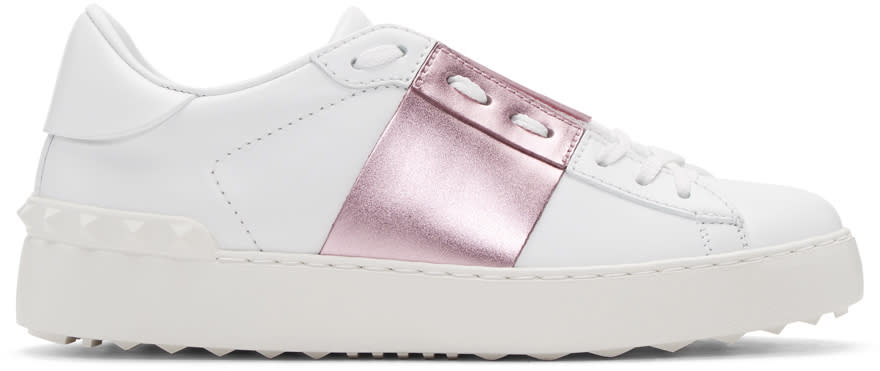 Valentino White and Pink Metallic Open Sneakers