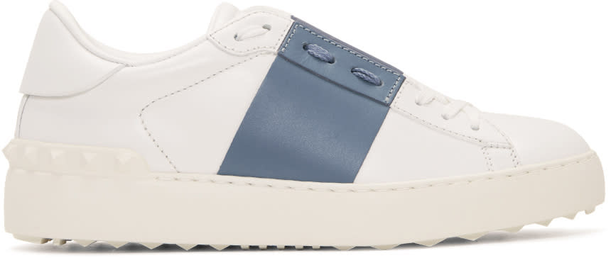 Valentino White and Blue Open Sneakers