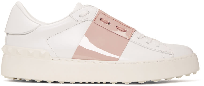 Valentino White and Pink Open Sneakers