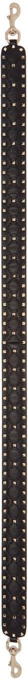 Valentino Black Quilted Rockstud Bag Strap