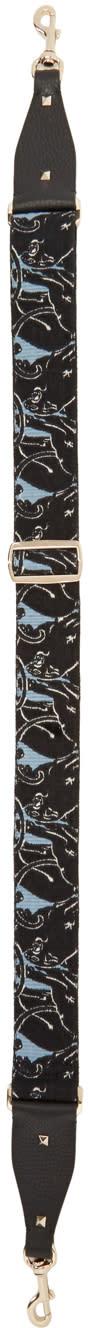 Image of Valentino Black and Blue Valentino Garavani Panther Rockstud Guitar Bag Strap