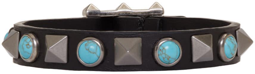 Valentino Black and Blue Rolling Rockstud Bracelet