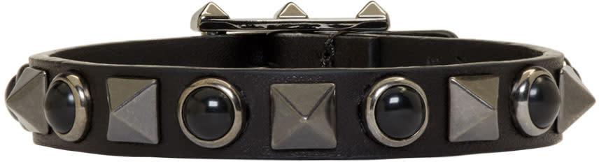 Valentino Black Leather Rolling Rockstud Bracelet