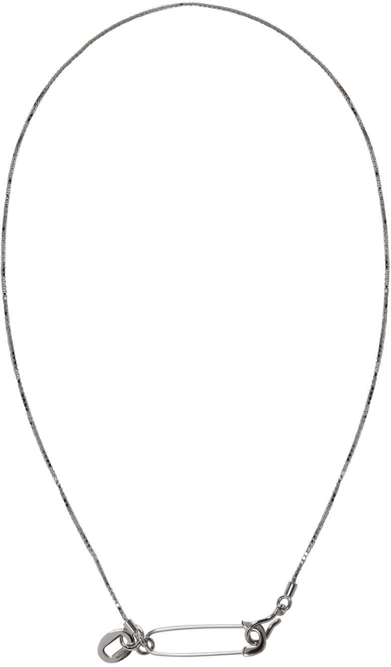 Valentino Silver Pin Necklace