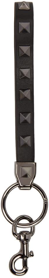 Valentino Black Rockstud Keychain