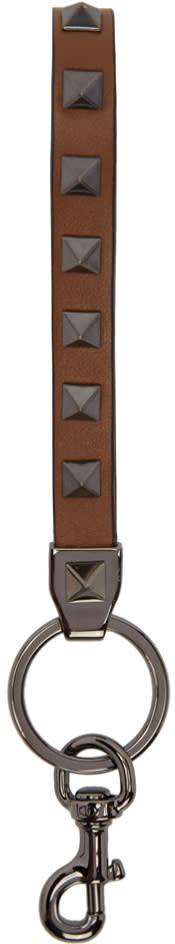 Valentino Brown Rockstud Keychain