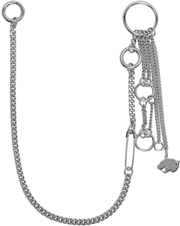 Valentino Silver Panther Charm Keychain