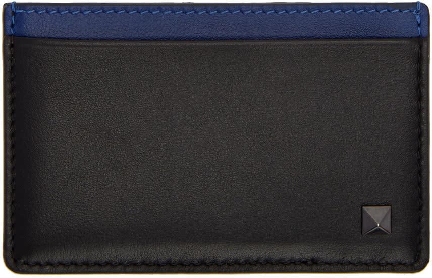 Valentino Black and Blue Rockstud Card Holder