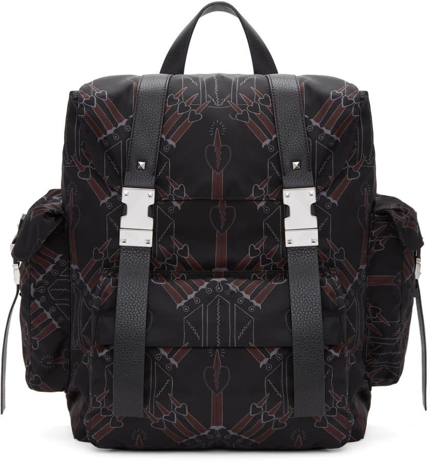 Valentino Black Love Blade Rockstud Backpack