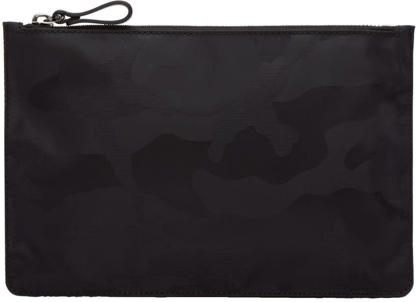 Valentino Black Medium Nylon Camo Pouch