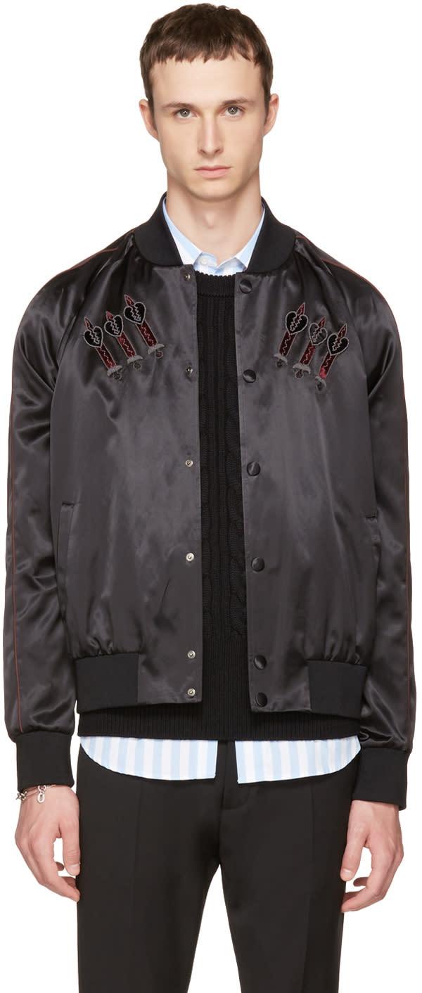 Valentino Black Embroidered Love Blade Bomber Jacket