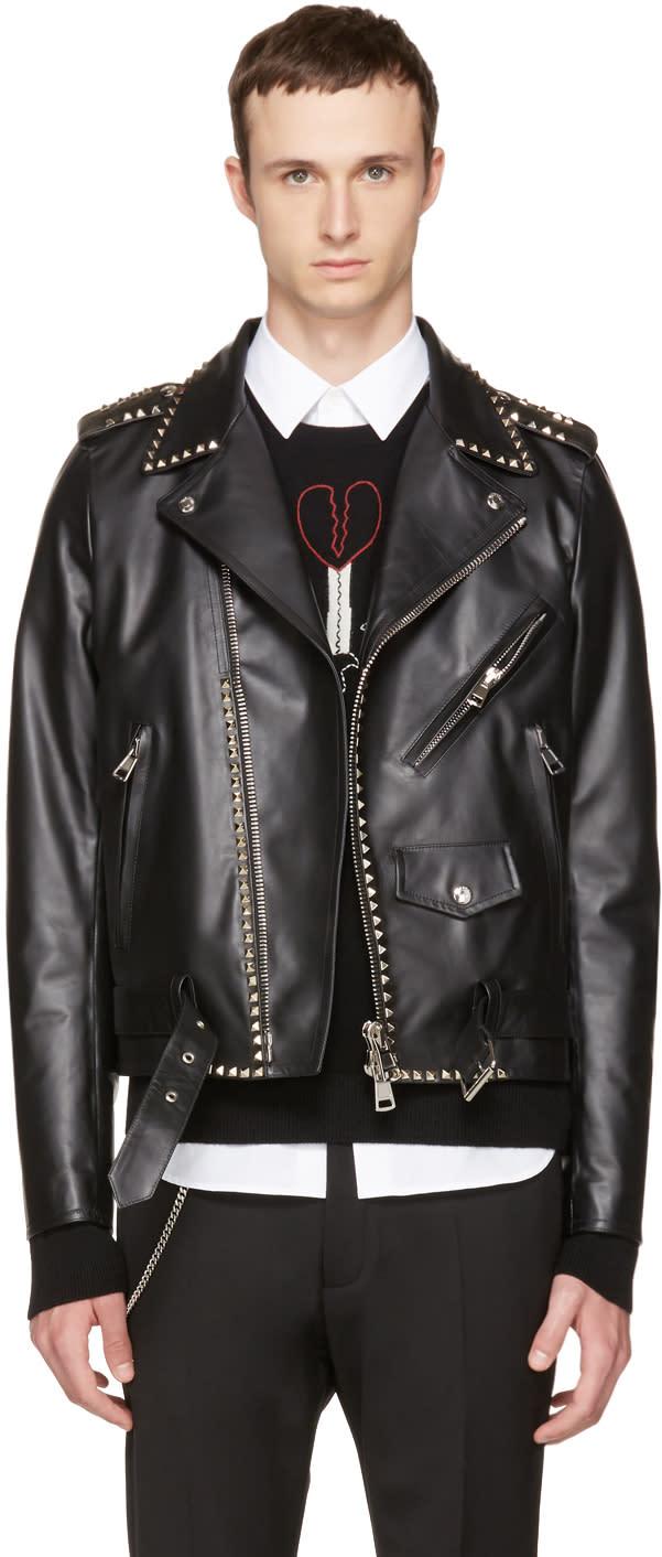 Valentino Black rockstud Untitled 20 Leather Jacket