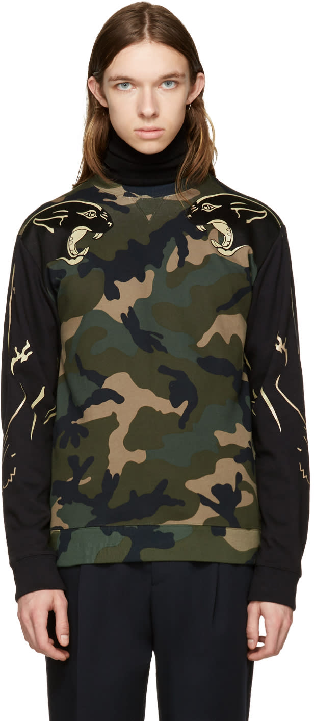 Valentino Green Camo Panther Sweatshirt