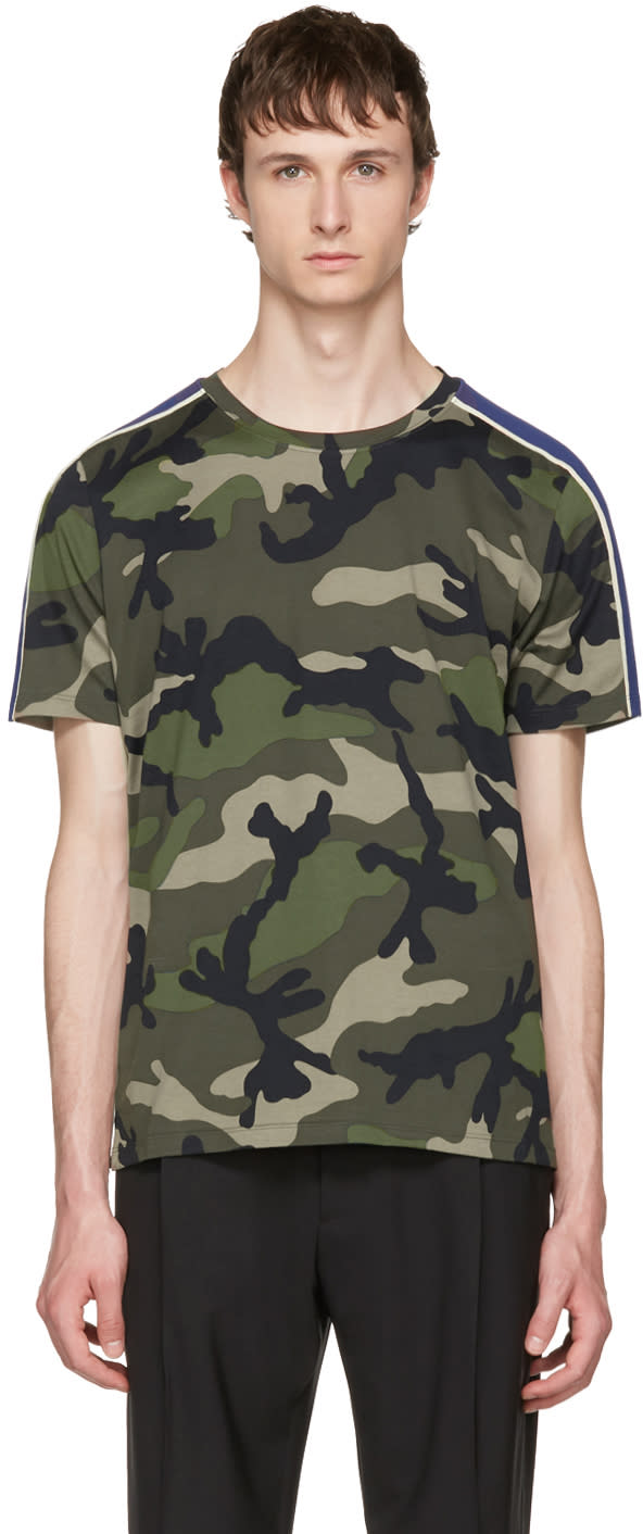 Valentino Green Camouflage and Stripes Shirt