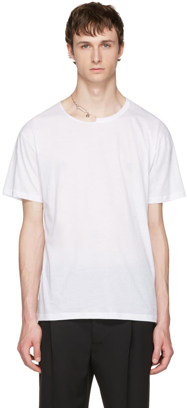 Valentino ホワイト ピン ネックレス パンク T シャツ