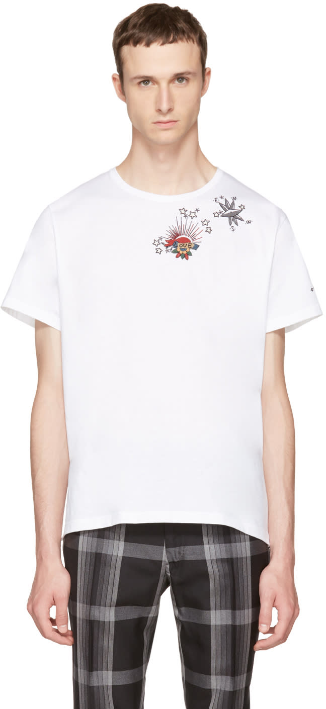 Valentino White Embroidered Tattoo T-shirt