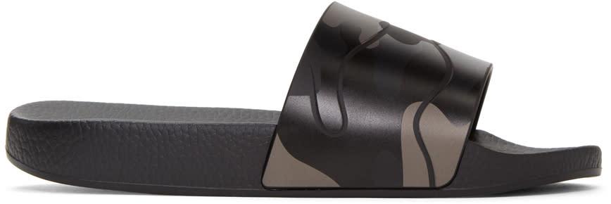 Valentino Black Camo Slide Sandals