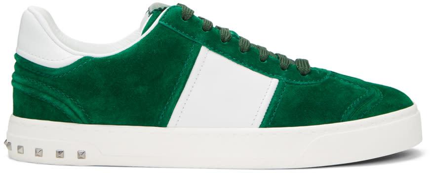 Valentino Green and White Valentino Garavani Fly Crew Sneakers