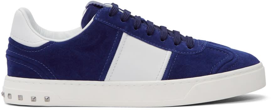 Valentino Blue and White Valentino Garavani Flycrew Sneakers