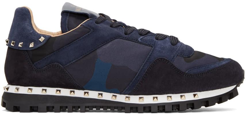 Valentino Navy Camo Rockstud Sneakers