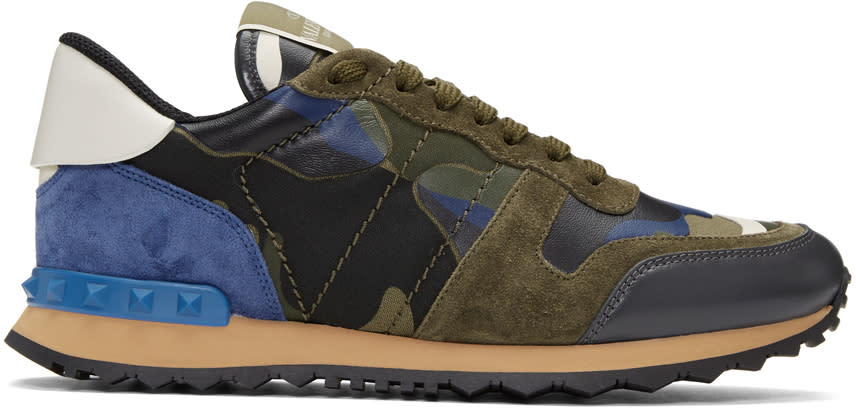 Valentino Green and Blue Camo Rockrunner Sneakers