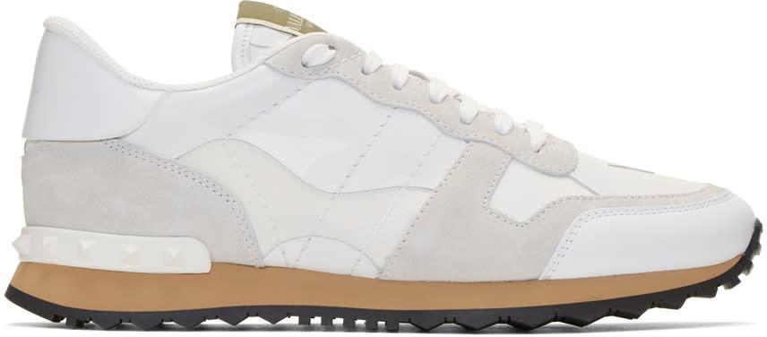Valentino White Valentino Garavani Camo Rockrunner Sneakers