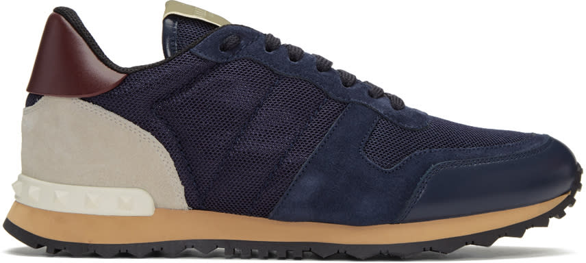 Valentino Navy Mesh Rockrunner Sneakers