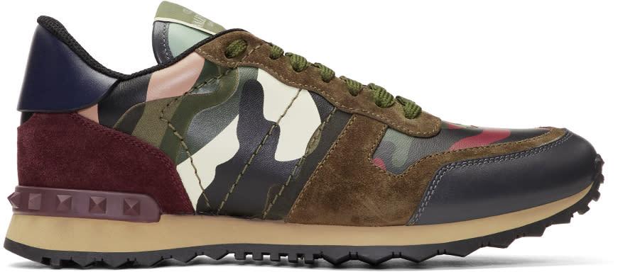 Valentino Green Valentino Garavani Camo Rock Runner Sneakers