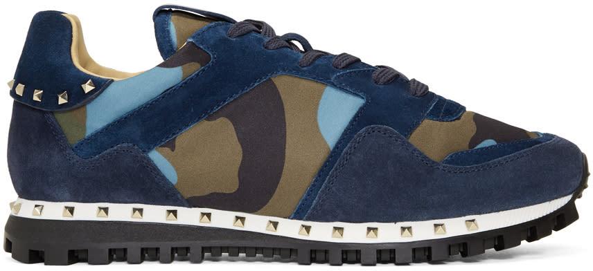 Valentino Blue Valentino Garavani Camo Rockrunner Sneakers