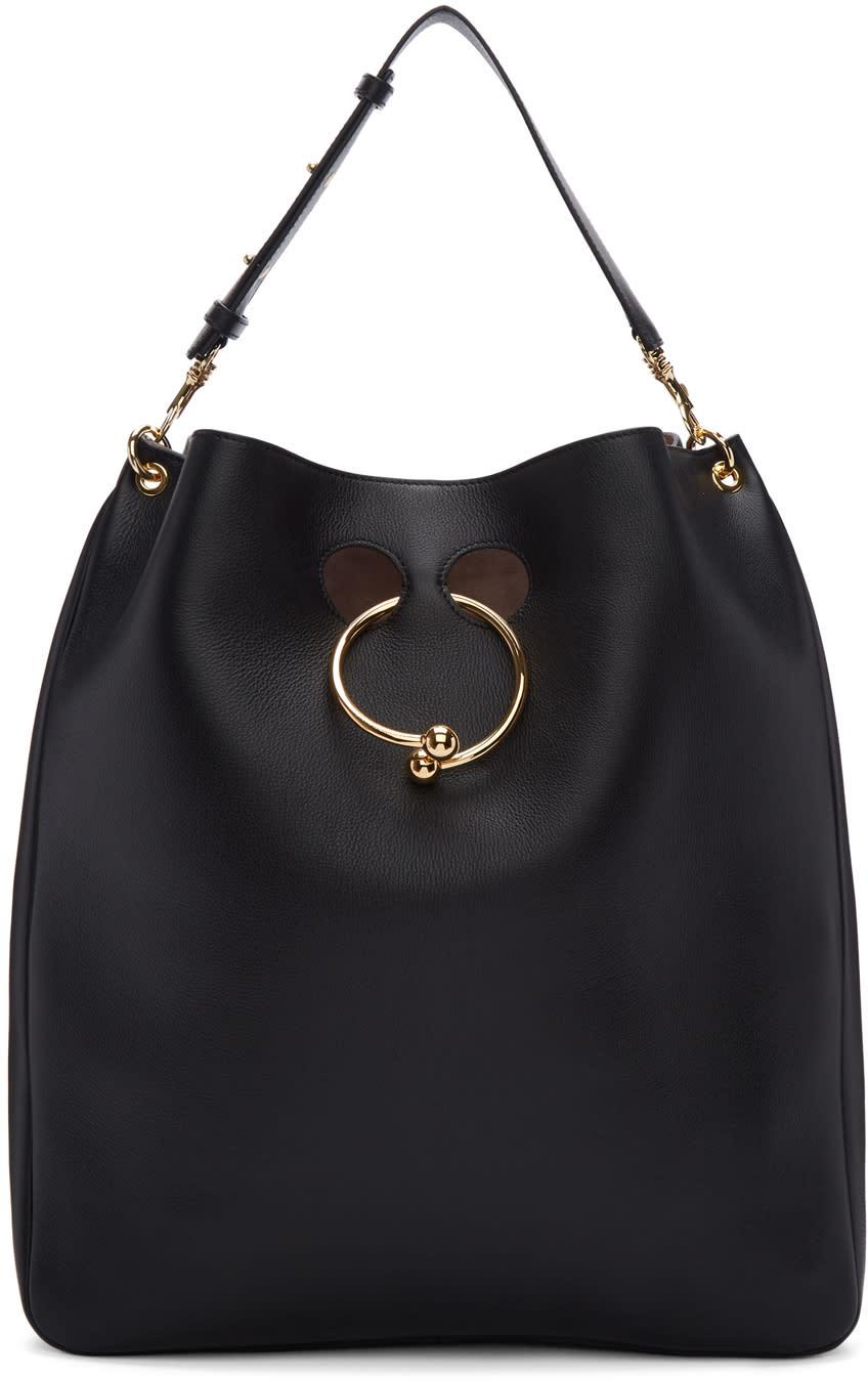 Image of J.w. Anderson Black Large Pierce Hobo Bag